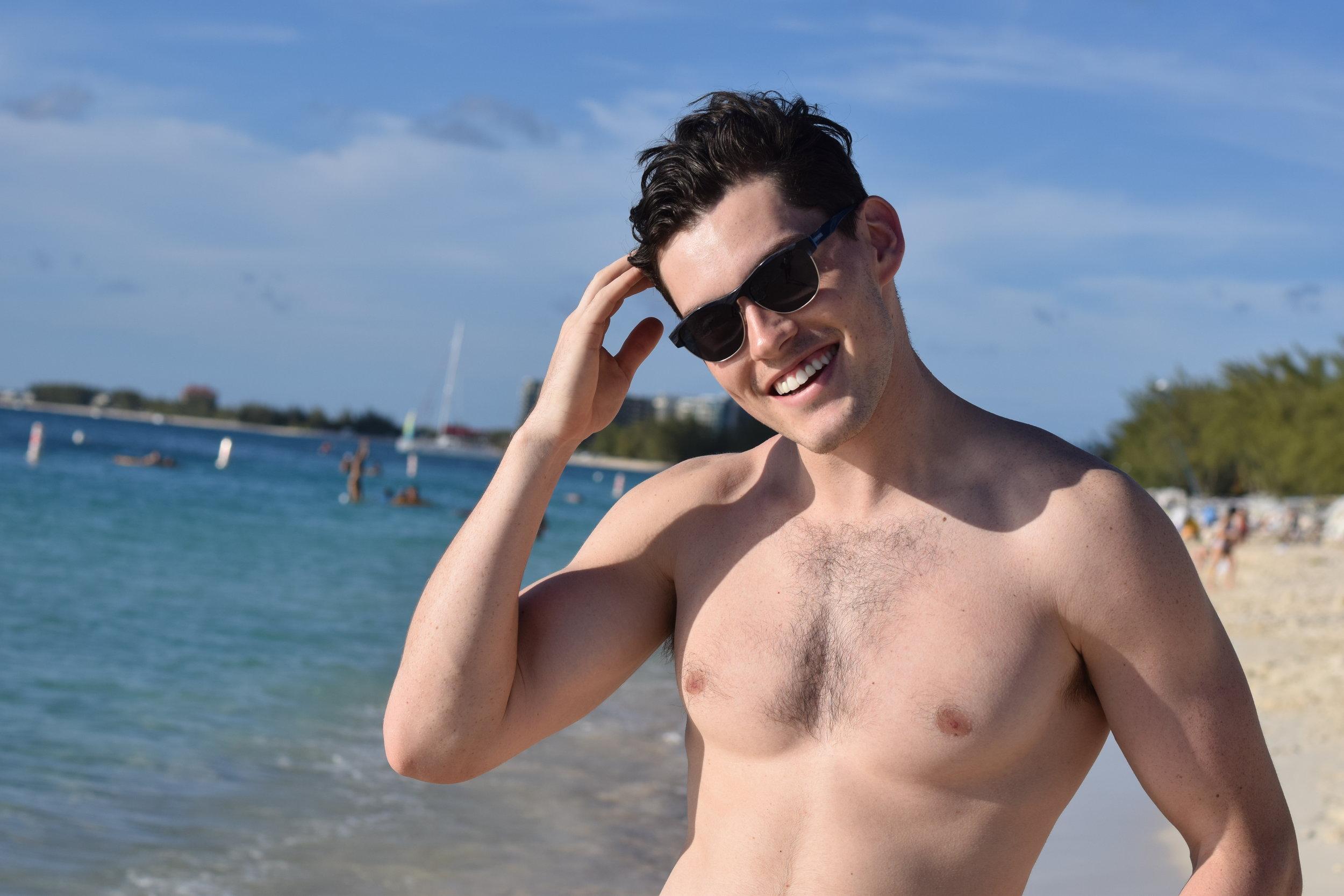 Austin Lantero enjoys Seven Mile Beach