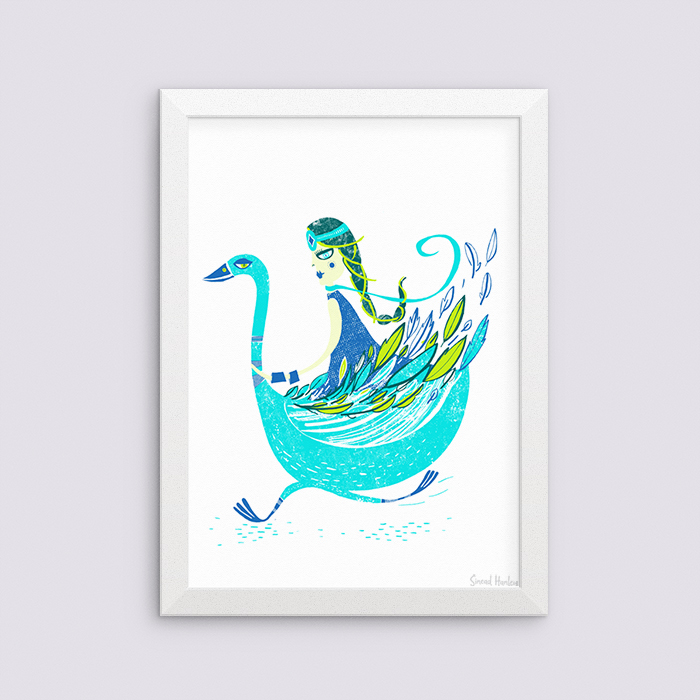 Cloaked Swan totem - Giclee A3 artprint