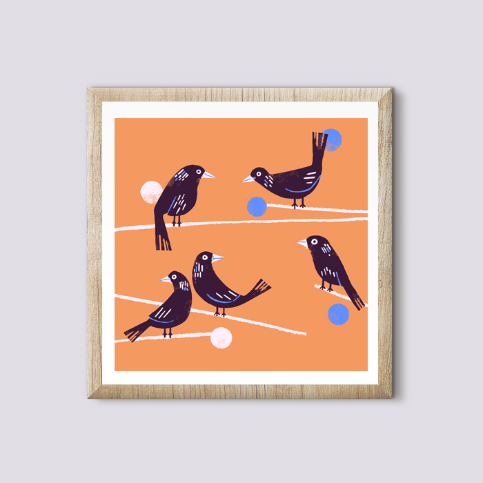 Magpie morning - Giclee 10 x10in artprint