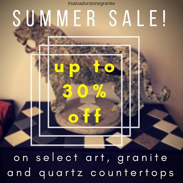 Summer is halfway over, but that doesn't mean your countertops have to go out of style!  Salvador Stone & Granite is having a SUMMER SALE! Up to 30% off! Contact us for details.