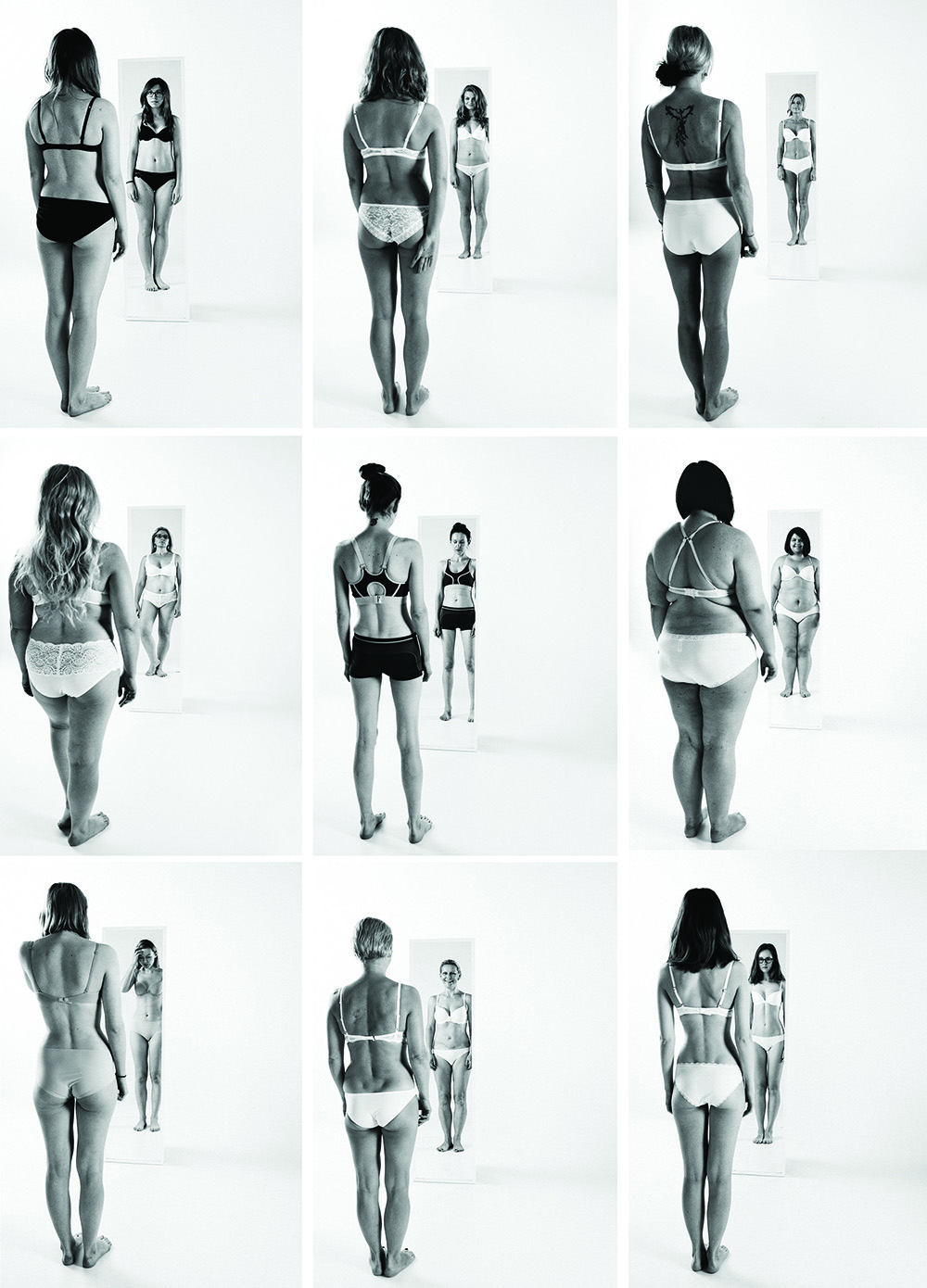 "{Lithuanian photographer  Neringa Rekašiūtė  has created a super powerful series which she named:  We. Women.  She wanted to strip down body-image issues by asking women to come face-to-face with their fears and insecurities by standing in their knickers in the mirror and having their photograph taken. ""These are women who had struggled with bulimia, anorexia, fat-shaming, skinny-shaming, violence from men,"" Rekasiute said. ""This project showed us lots of deep scars in our society.""}"