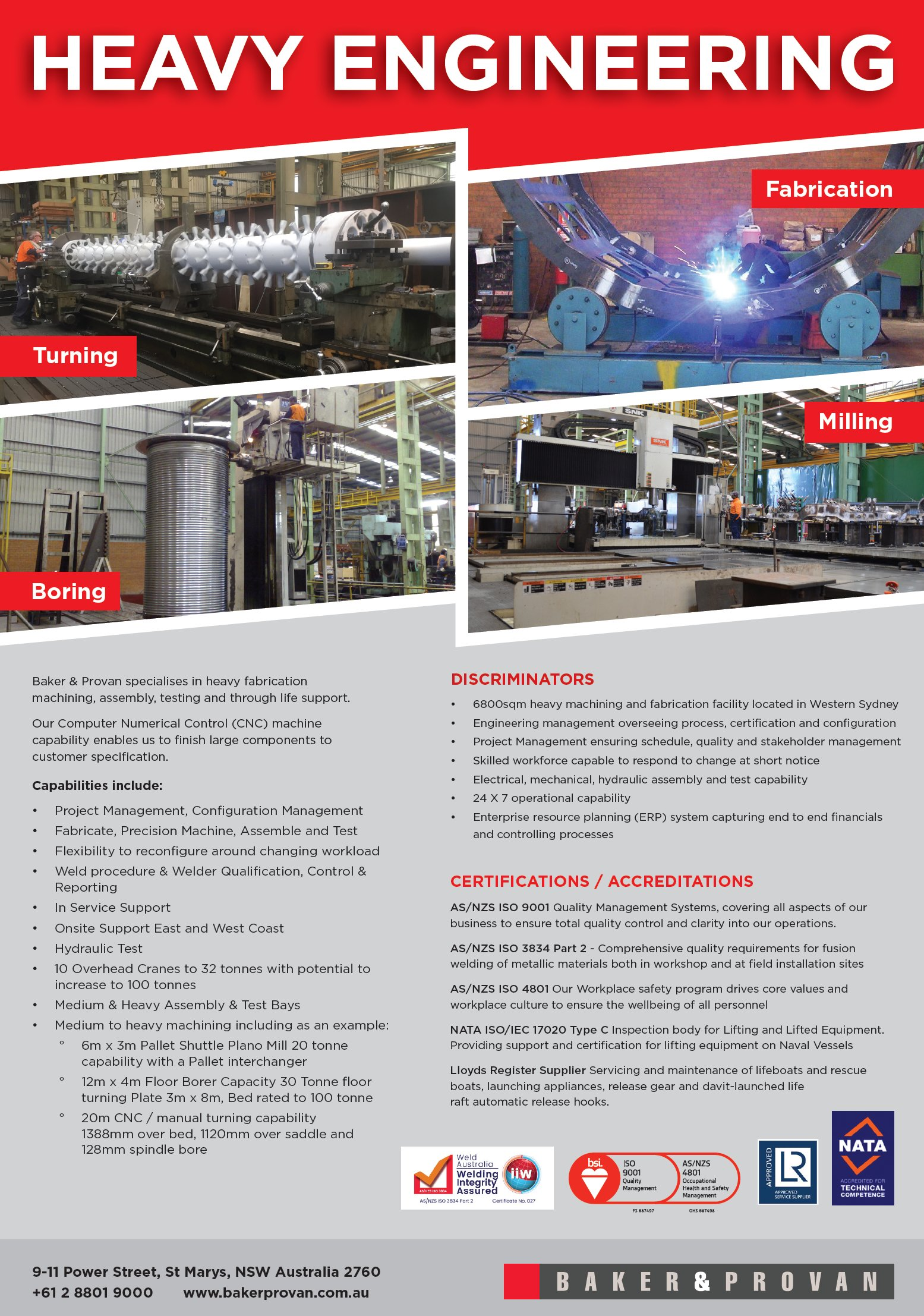 Baker & Provan Heavy Engineering Brochure