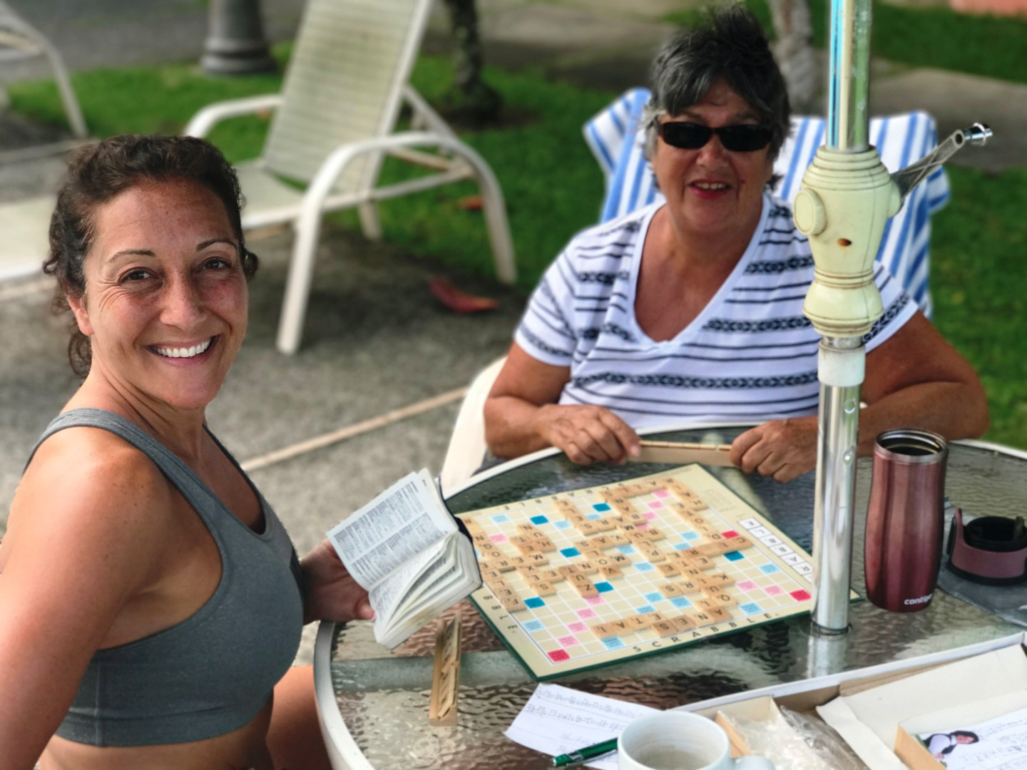 Try scrabble, a crossword puzzle, or a friendly game of cards with friends to break up the day and have a little fun.