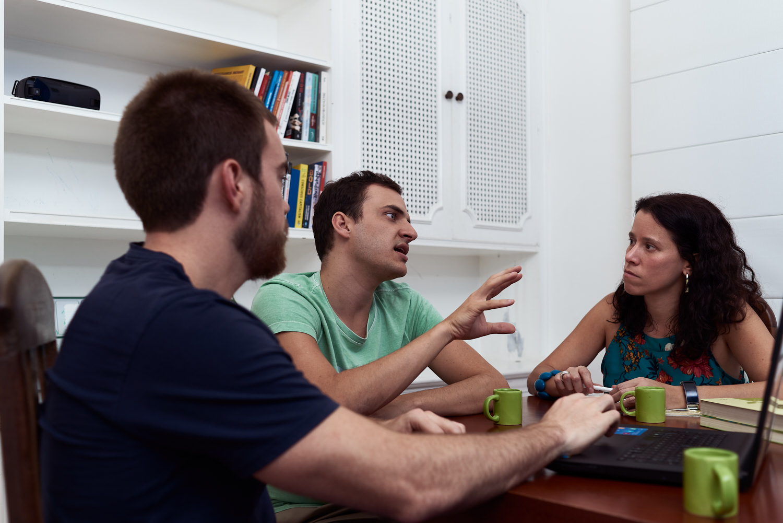 Left to Right: Vinicius and Alexandre in a meeting with Renata Truzzi, NESsT portfolio director in Brazil. | Bruno Fujii for NESsT