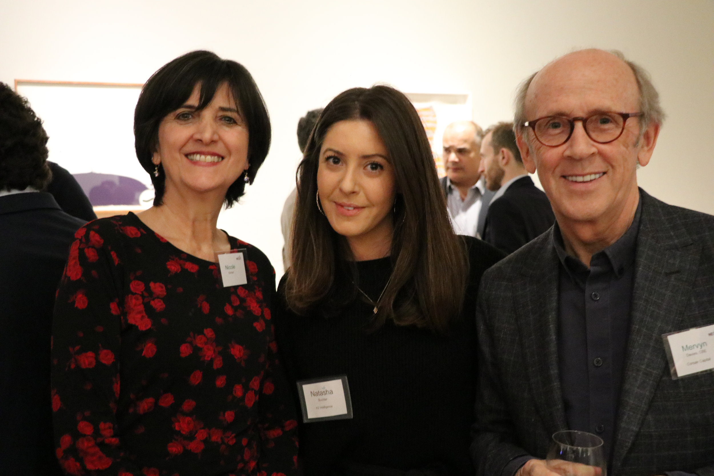 Nicole Etchart, Co-Founder of NESsT, Natasha Buchler, Founder of AKOJO Market, and Lord Davies of Abersoch, CBE, Chairman of Corsair Capital    NESsT Private Reception at Royal Academy of Arts in London