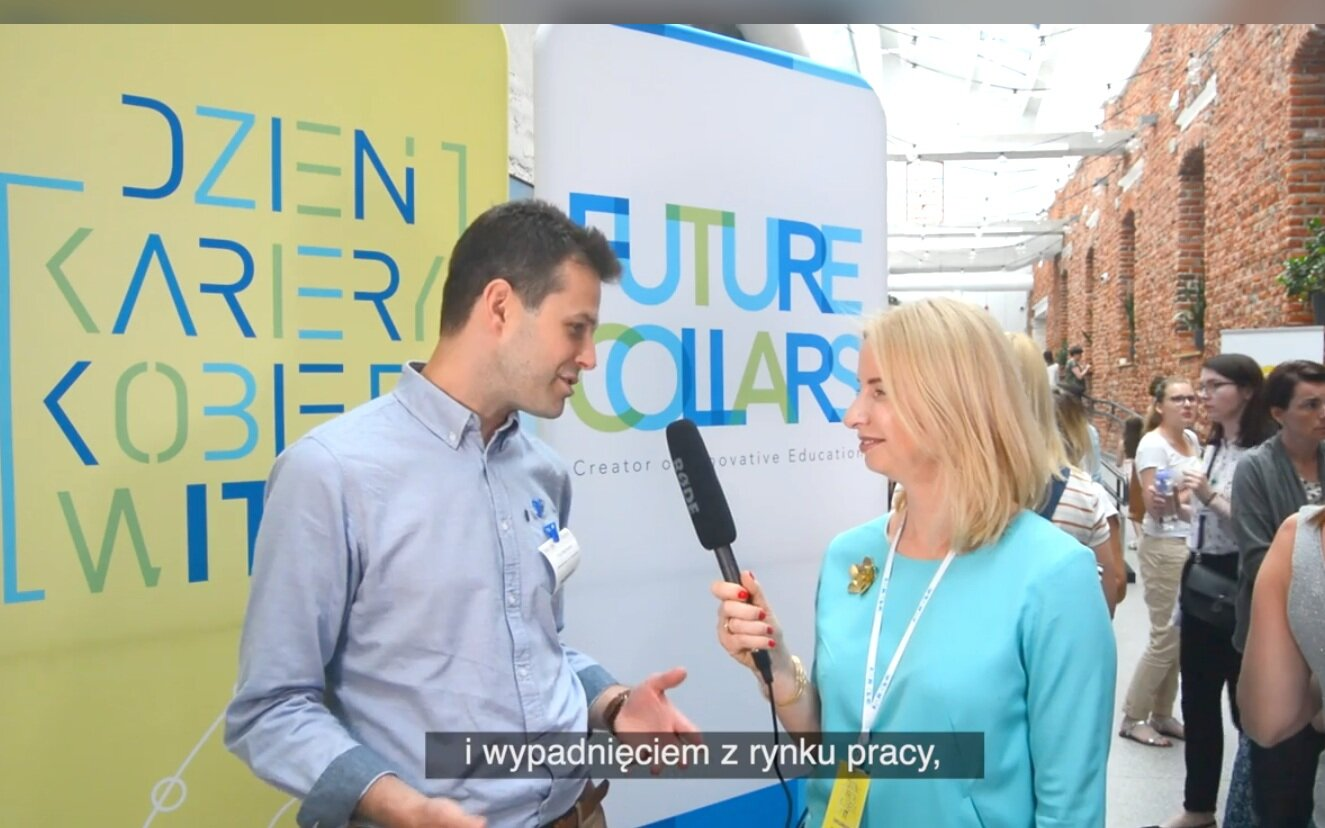 Filip Wadowski during the Women in IT Career Day hosted by CodersTrust Polska/Future Collars and Fundacja Mamo Pracuj! He speaks with Joanna Pruszynska-Witkowska about NESsT's decision to invest in these social enterprises in Poland.  Watch the video (Polish).
