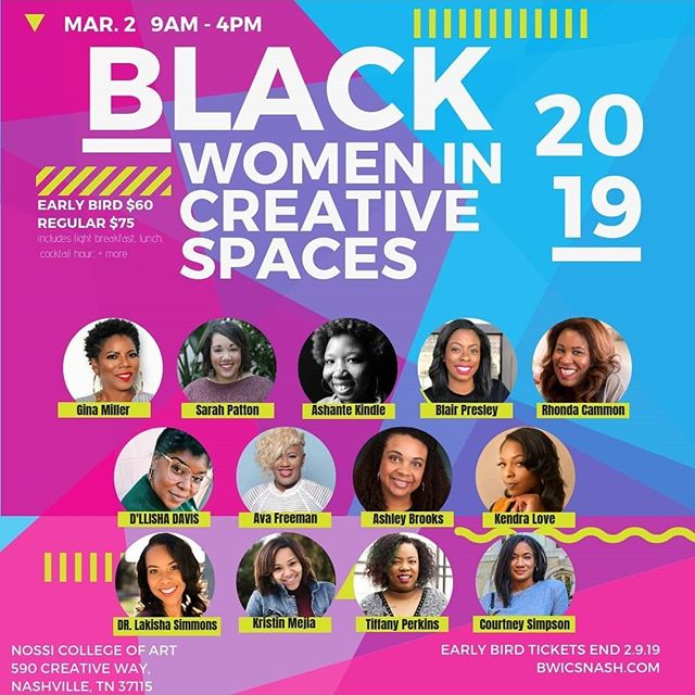 Brown girls, talented, creative , curvy, poets, bloggers, influencers, executives, strong, coils , relaxers , wisdom,  building relationships , and  excellence . Yess I'm speaking  of BLACK WOMEN IN CREATIVE SPACE @bwicsnash.com . Get your tickets today and lock March 2nd in .  Bwicsnash.com  #Avafreemanco  #blackenterprise #bwicsnash #nossicollege #browngirlinbusiness  #buildinginrelationships  #creatives #whatyour10yrplan  #womensummit  #supportblackwomen #blackcreative #nashvillestylist  #clarksvillestylist