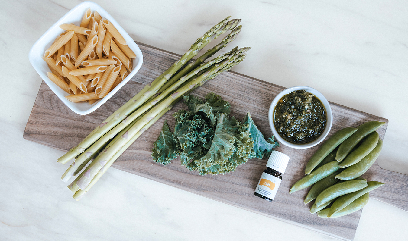 The-Oily-Home-Companion-Recipe-Pesto-penne-gluten-free-gf-pasta-spring-vegetables-asparagus-kale-garlic-basil-lemon-vitality-essential-oil-pesto-Summer-Spring-Dish-Meal-Ingredients2.jpg