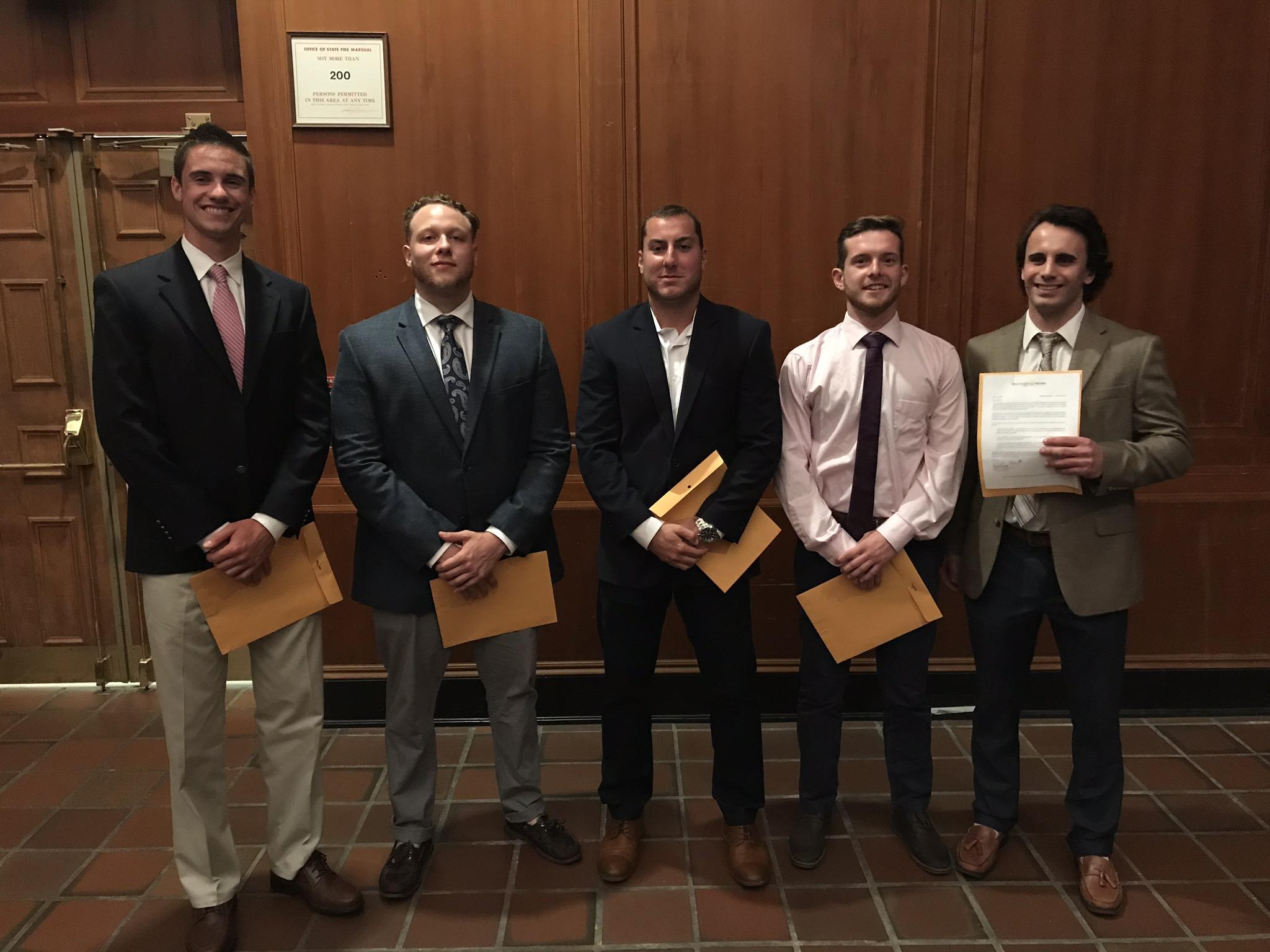 The 2019 ZGK - Salisbury University Award Recipients: Cal Aldersley, Damon Savastano, Frank Pipich, Brendan Fagan, Martin Kristian