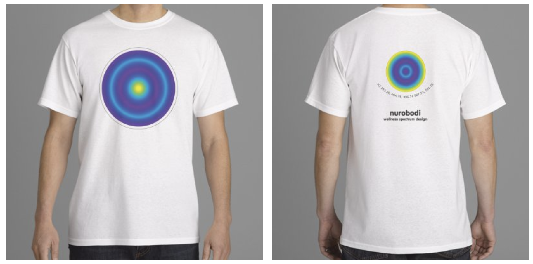 Wearable Profiles - Bespoke unisex T-shirts that display your personal Nurobodi Spectrum Profile in the form a colour data and Hz value visualisation