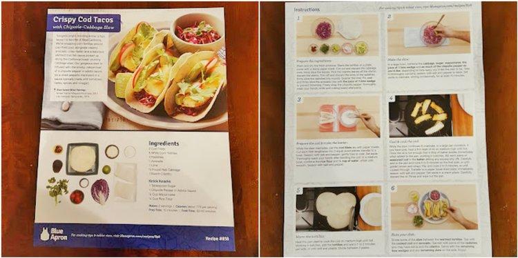 Recipe card for crispy cod tacos
