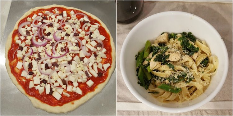 Pizza in the making (left) and pasta with chicken (right)