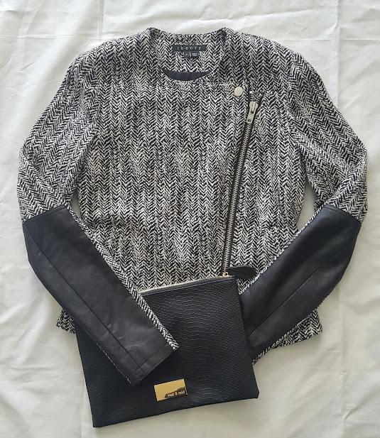 Theory jacket & black clutch purse