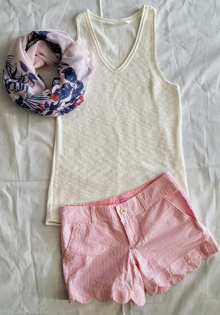Athleta tank, Lilly Pulitzer buttercup shorts, toucan print scarf