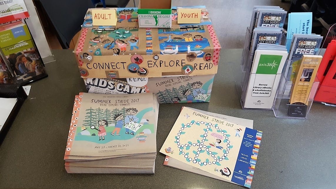 Raffle box and information for this summer's reading program