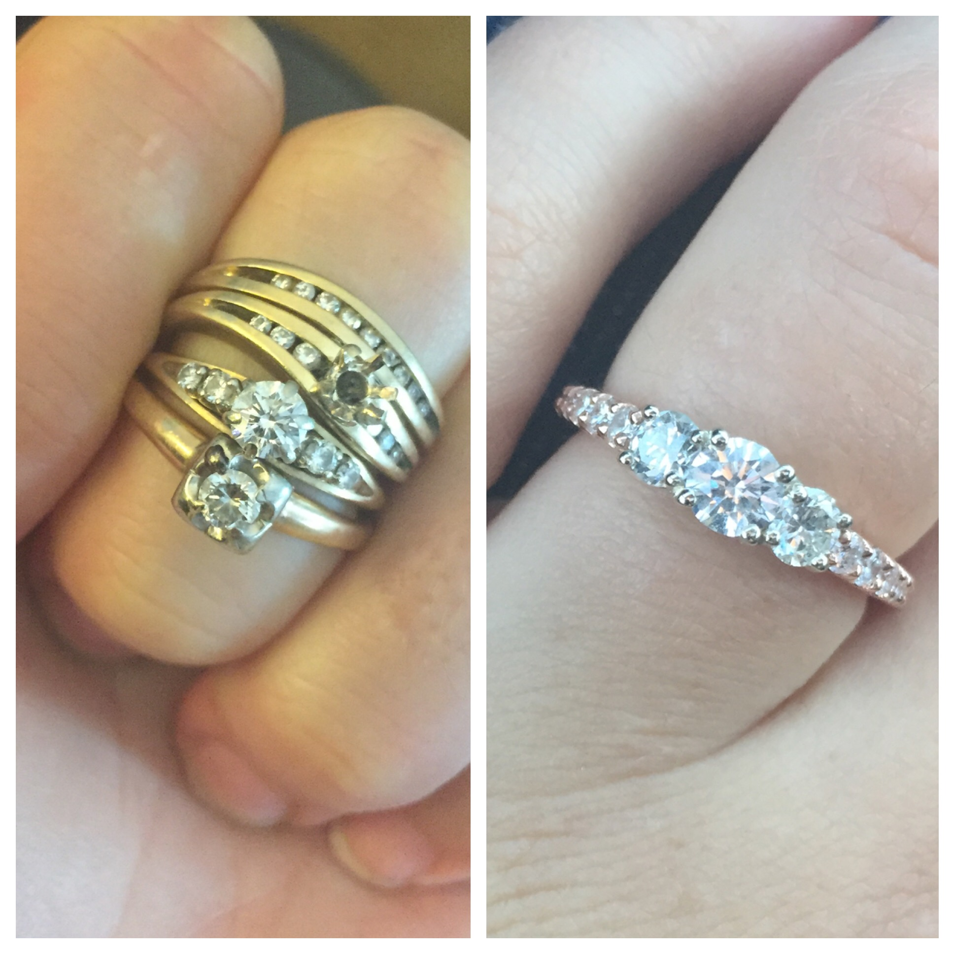 Engagement ring made from reset stones before & after photos (Source: Weddingbee)