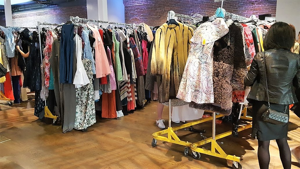 Racks of dresses
