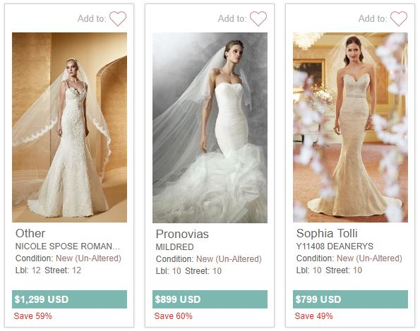 A few of the wedding dresses available on PreOwned Wedding Dresses.