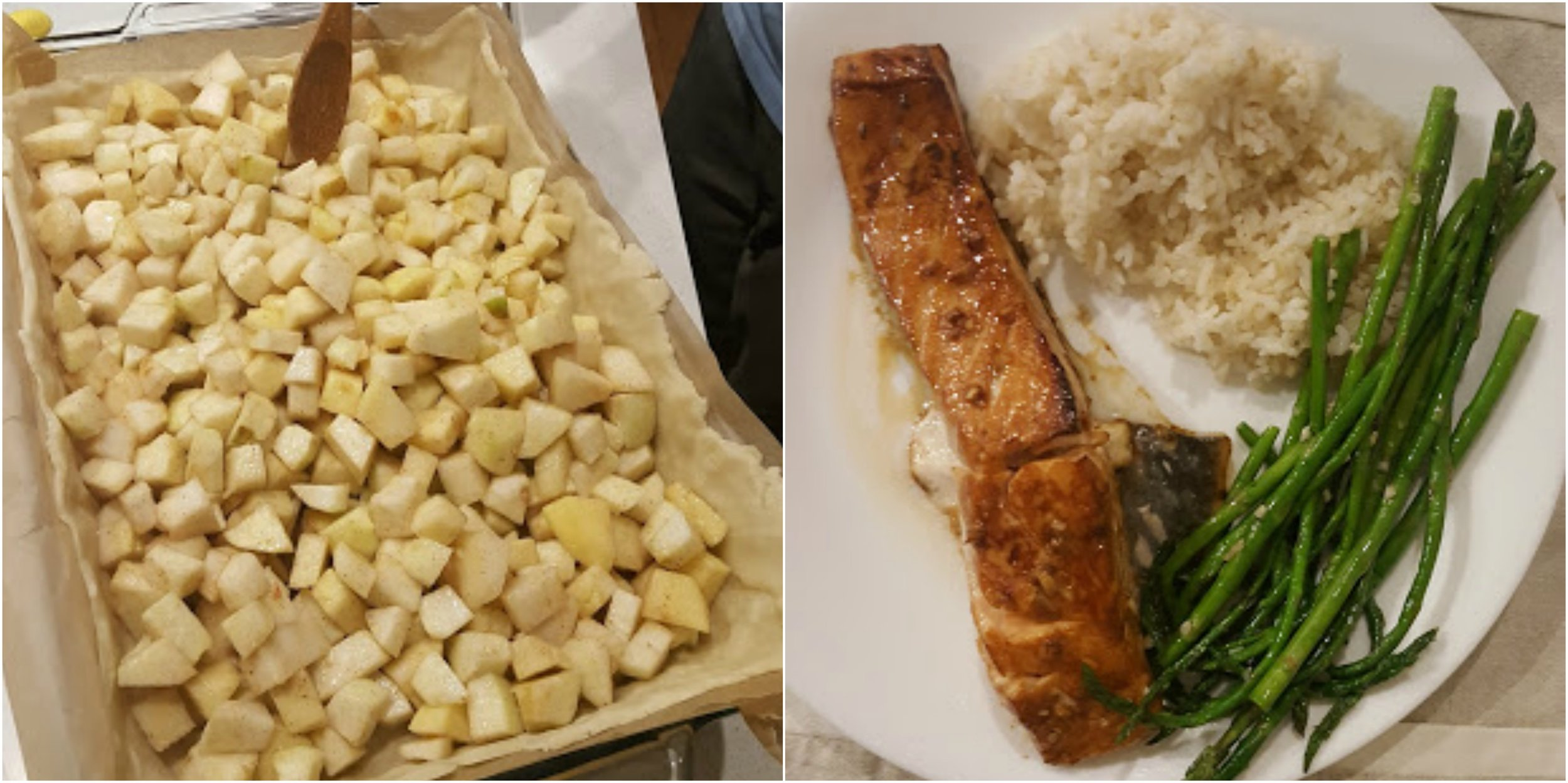 Apple pie in the making (left) & baked salmon and asparagus dinner (right)