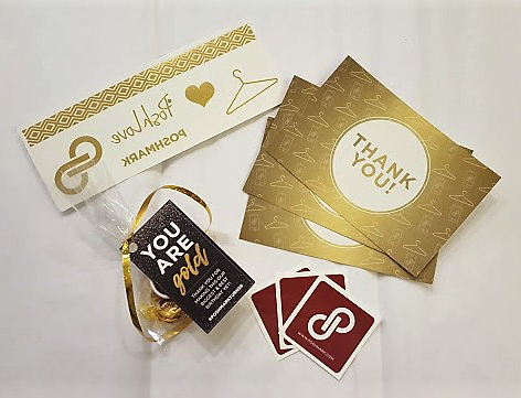 Poshmark swag: thank you cards, stickers, temporary tattoos, pins, and candies
