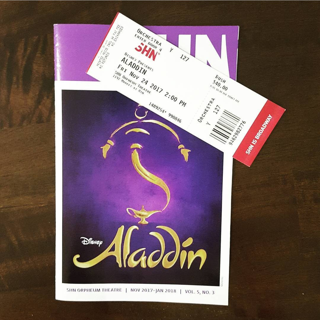 Rush ticket to Aladdin. Forty dollar orchestra seat.