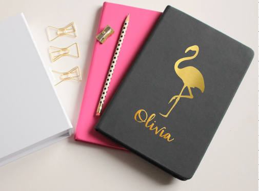 Personalised Gold Flamingo Note Book  by Beau And Bella UK