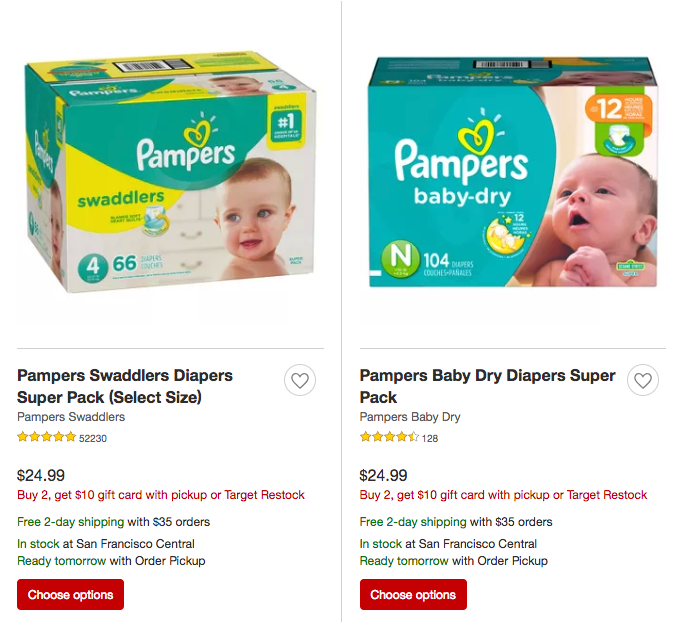 Gift card offer with purchase of Pampers