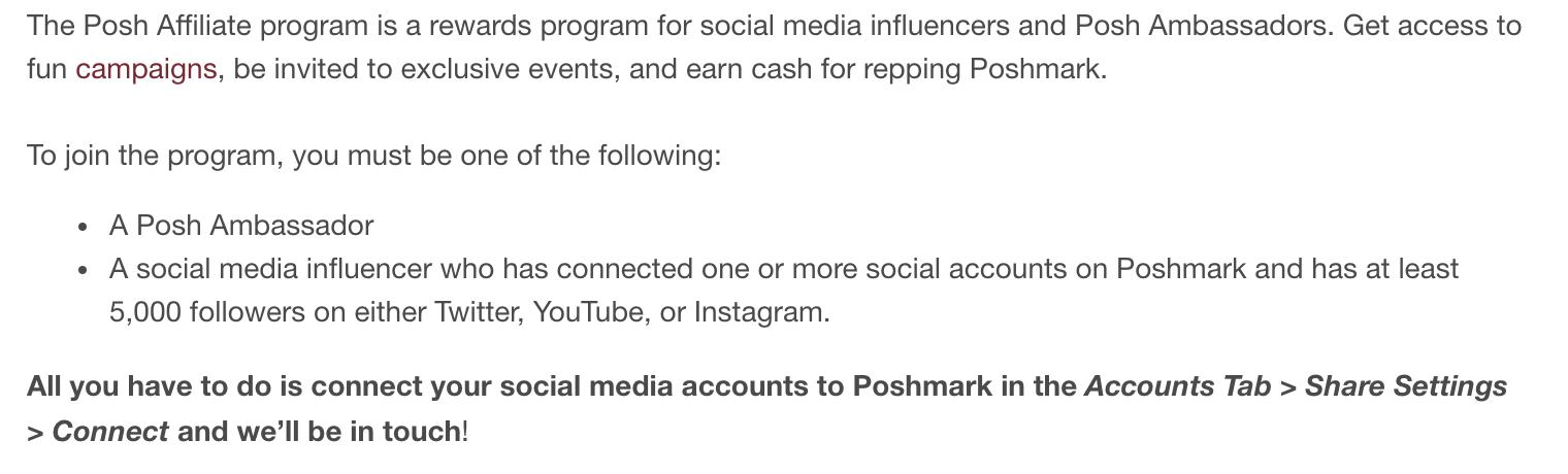 Poshmark affiliate requirements
