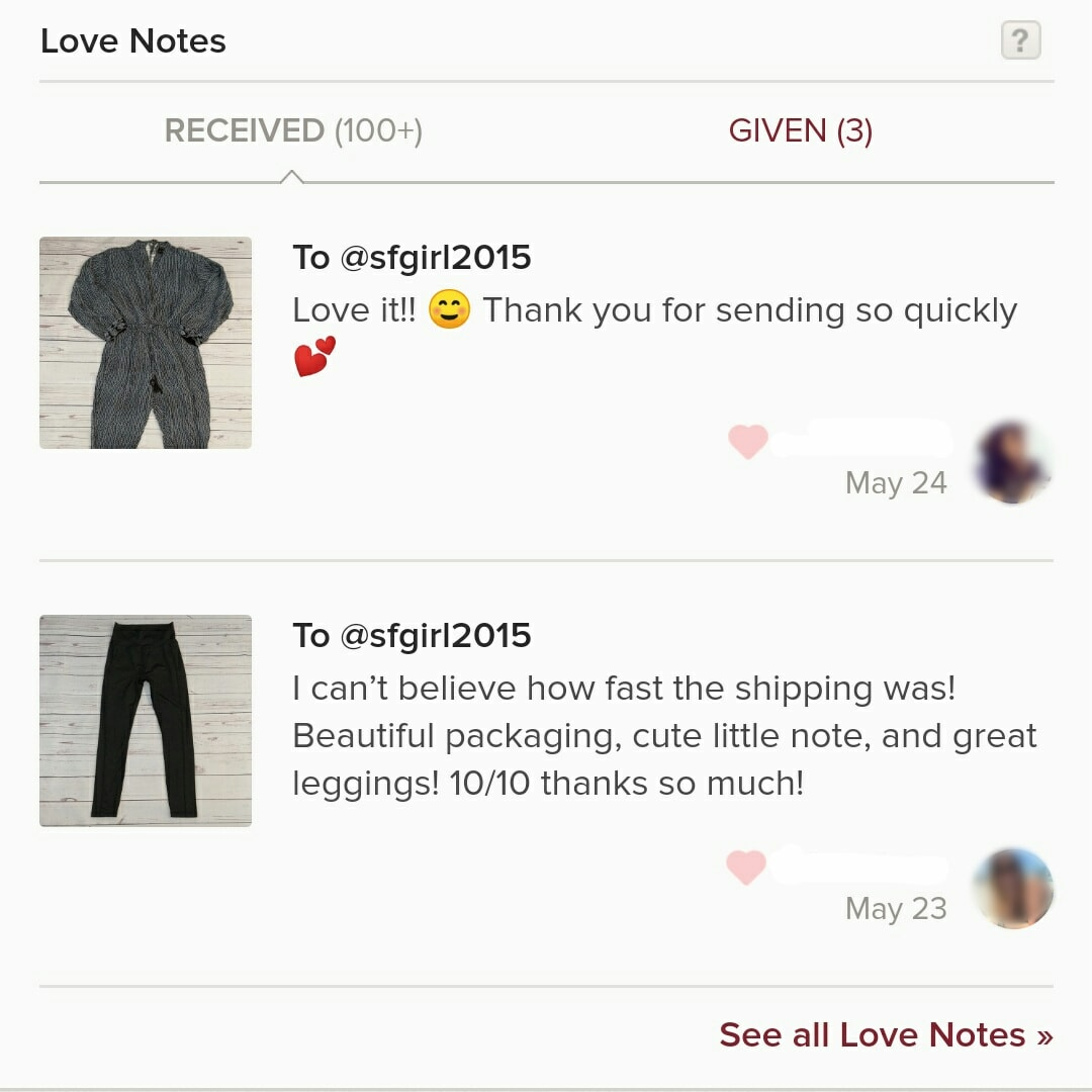 Some love notes that mention shipping speed. Buyers love fast shipping.
