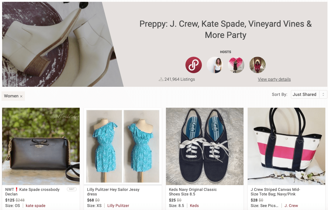 "View more brands that can be shared to the party by clicking ""View party details"" on the party homepage (desktop view)."
