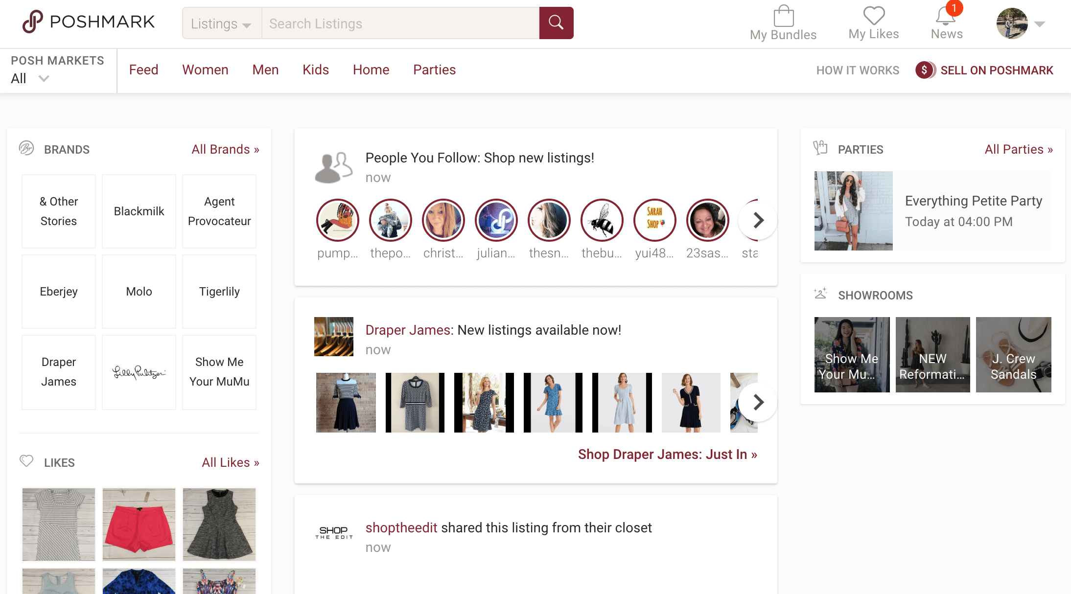Poshmark homepage & feed