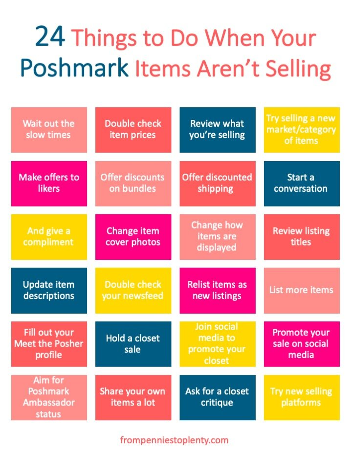 24 Things To Do When Your Poshmark Items Aren T Selling Checklist From Pennies To Plenty