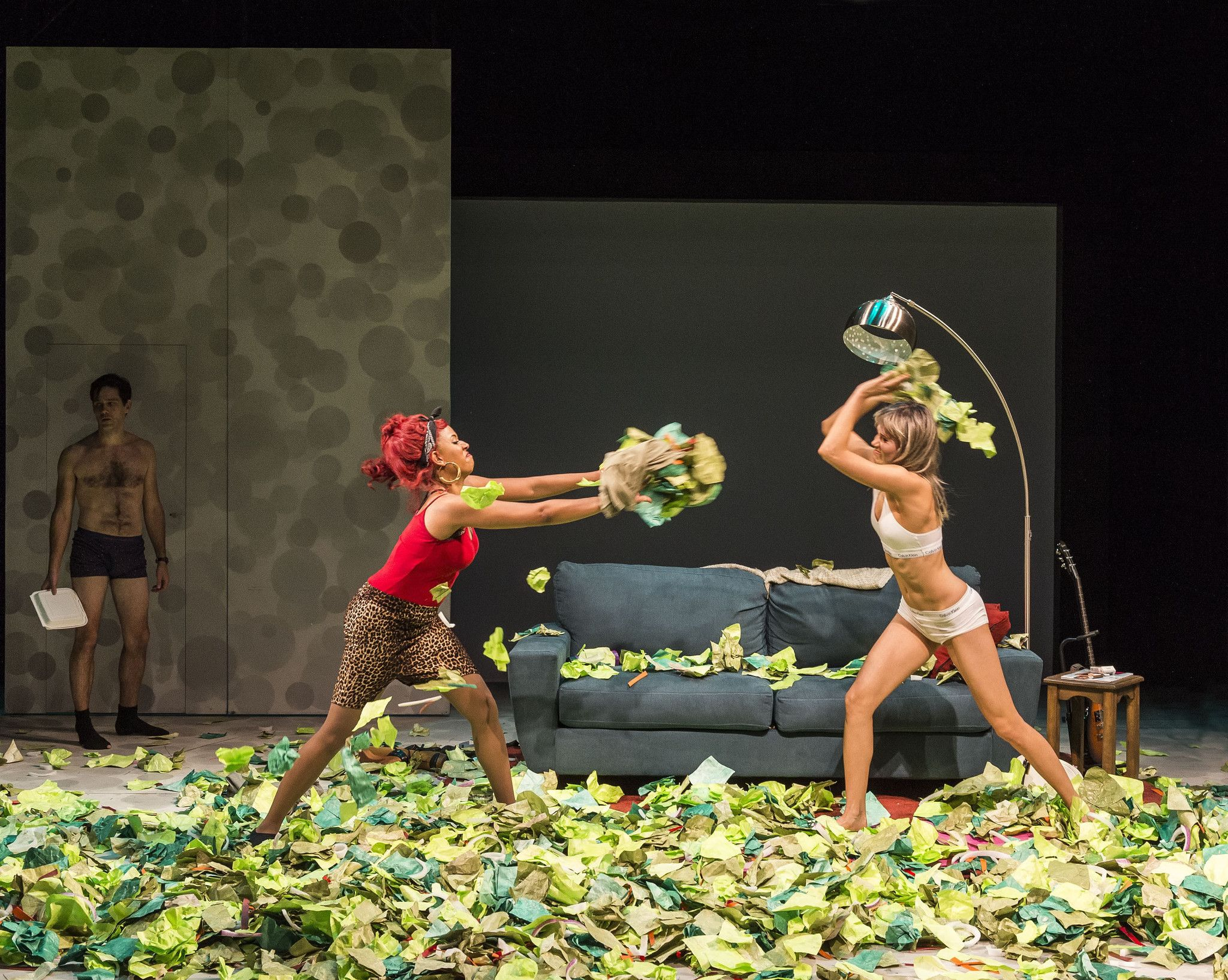 Production photo from the 2015 Center Theatre Group production of Women Laughing Alone With Salad by Sheila Callaghan.