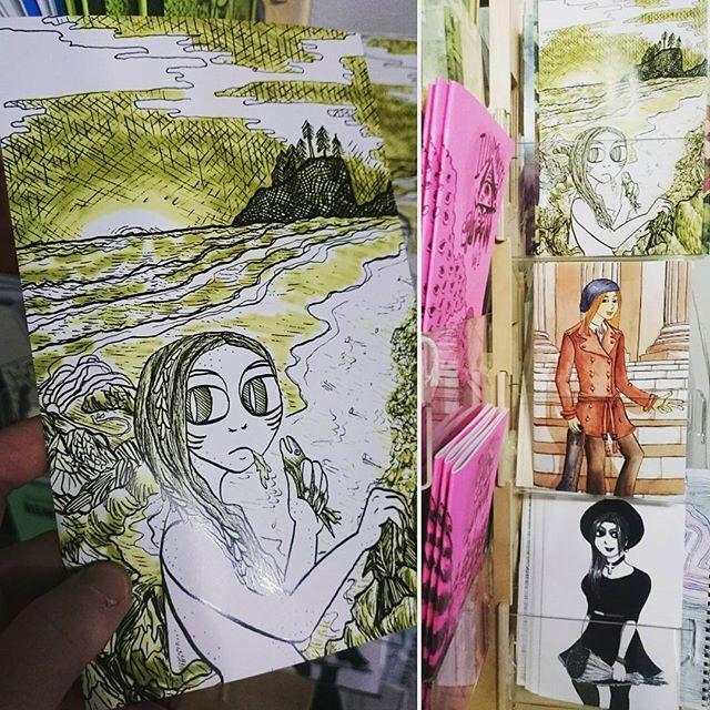 Regram from @pushpullseattle ! I brought in some prints today 😄 . . . #illustration #drawing #watercolor #danielsmith #ink #nib #kuretakezig #kuretake #zigkuretake #print #portrait #pnw #queerart #prints