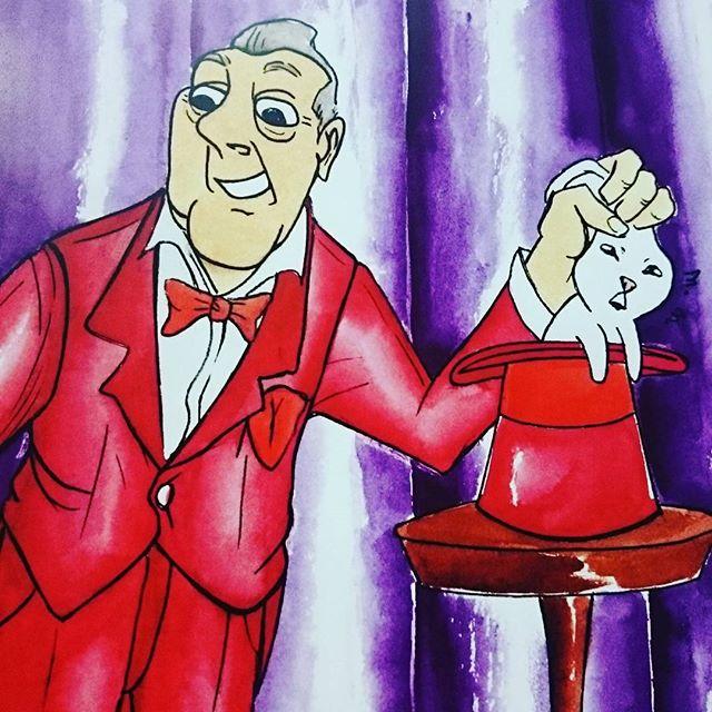 Here's the final print for the poster I made for our screening of the Illusionist on March 18th! 🎩✨ #illustration #drawing #watercolor #ink #nib #kuretake #zigkuretake #kuretakezig #dippen #globenib #danielsmith #sylvainchomet #theillusionist #illusioniste #magique #magic #magician #cartoon #cartoons #saturdaymorningcartoons #pushpullseattle #comics #cartooning #animation #animatedfilm #magicien