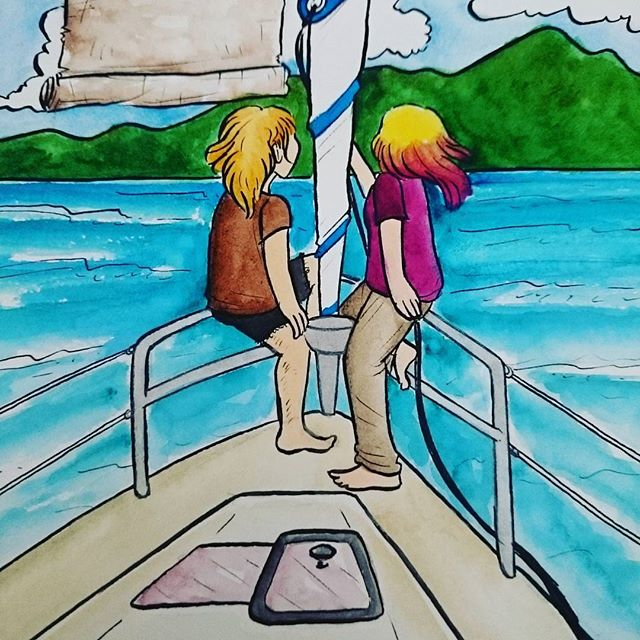 Remaking the back cover... 😅 last-minute editing before ECCC! 🌊⛵ #sailing #beneteau #watercolor #nib #ink #illustration #comics #bvi #britishvirginislands #sailboat #danielsmith #drawing #dippen #autobio #autobiography #autobiocomics #diarycomics #travelogue #paauwfamilyvacay