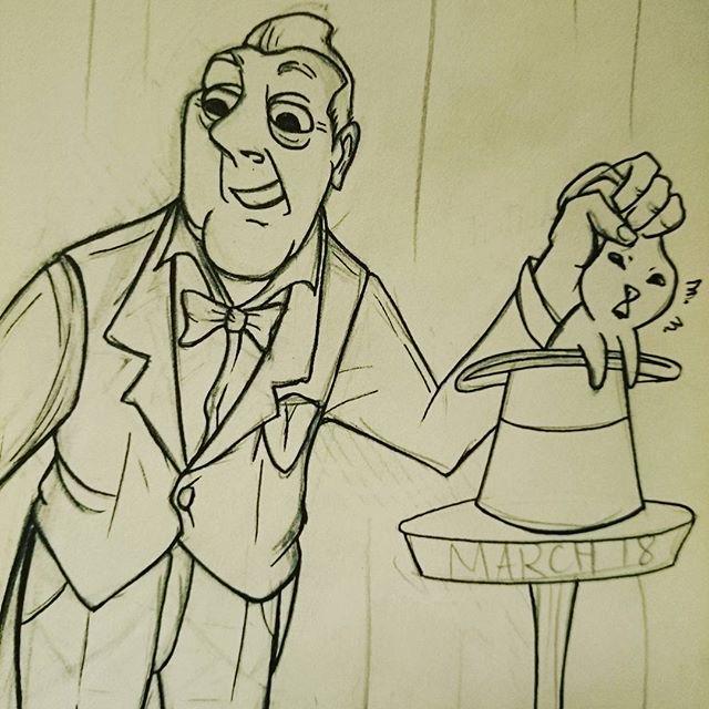 Working on a poster for a film screening I'm hosting at @pushpullseattle 🎩🐰✨ #pauvrelapin #wip #drawing #illustration #lamy #lamysafari #fountainpen #sailorink #cartoon #animation #sylvainchomet #illusionist #illusioniste #magician #magic #magicien #magique #tati #jacquestati #tatischeff #sketch #saturdaymorningcartoons #pushpullseattle #pushpull #lapin #lapinou