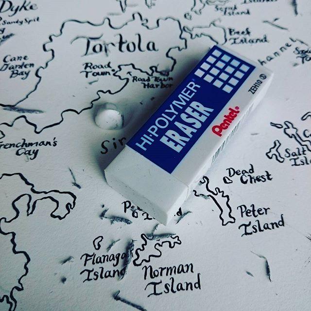 The history of an eraser... 🌝🌘🌗🌒🌑 . . . #comics #thatartistlife #drawingaday #illustration #drawing #sketch #wip #ink #dippen #globenib #nib #kuretakezig #kuretake #zigkuretake #pentel #eraser #tortola #map #cartography #art🎨 #art
