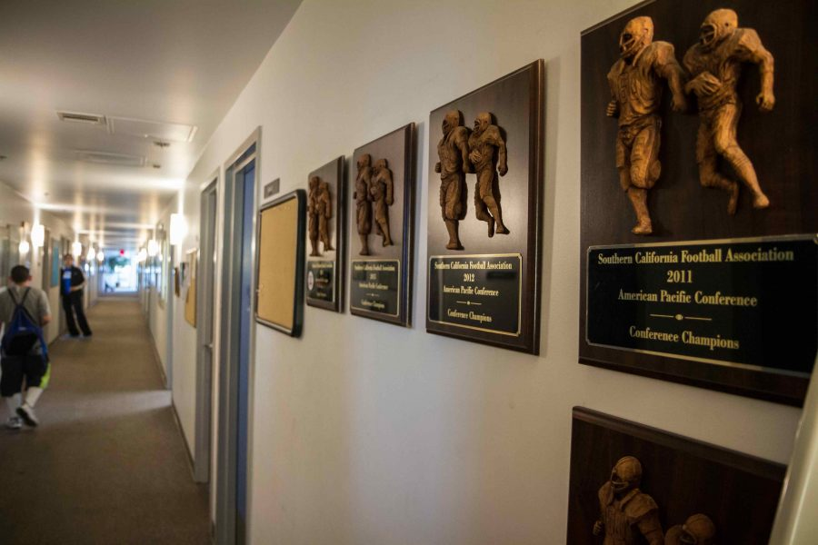 The legacy of the Corsair athletics department as seen from the awards that line the walls of the Corsair Gym offices.