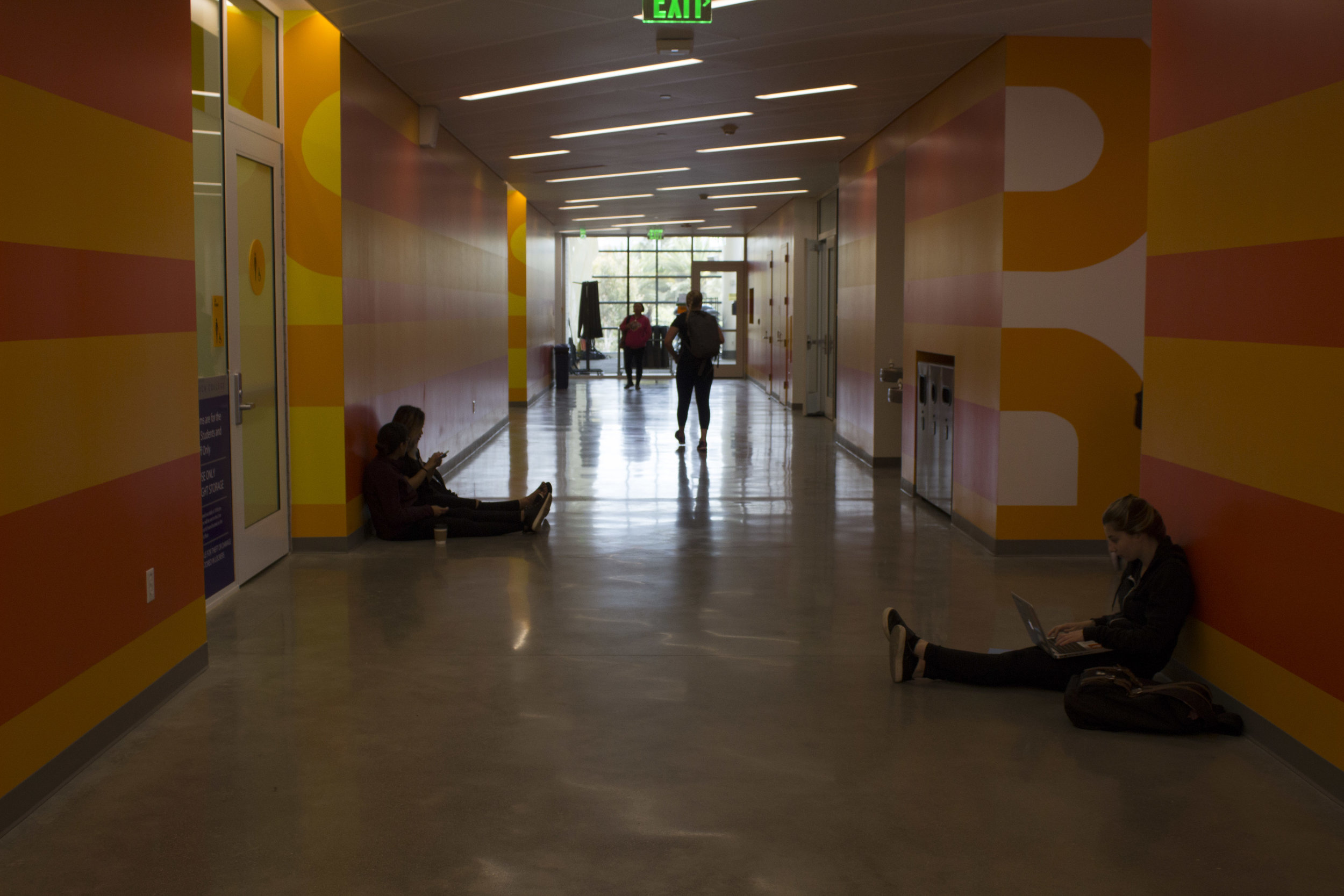 All new Core Performance Center building at Santa Monica College, Calif. The second floor and its orange color dominance is the fitness, yoga and gym level. Photo taken on April 3, 2017. Emeline Moquillon, staff photographer.