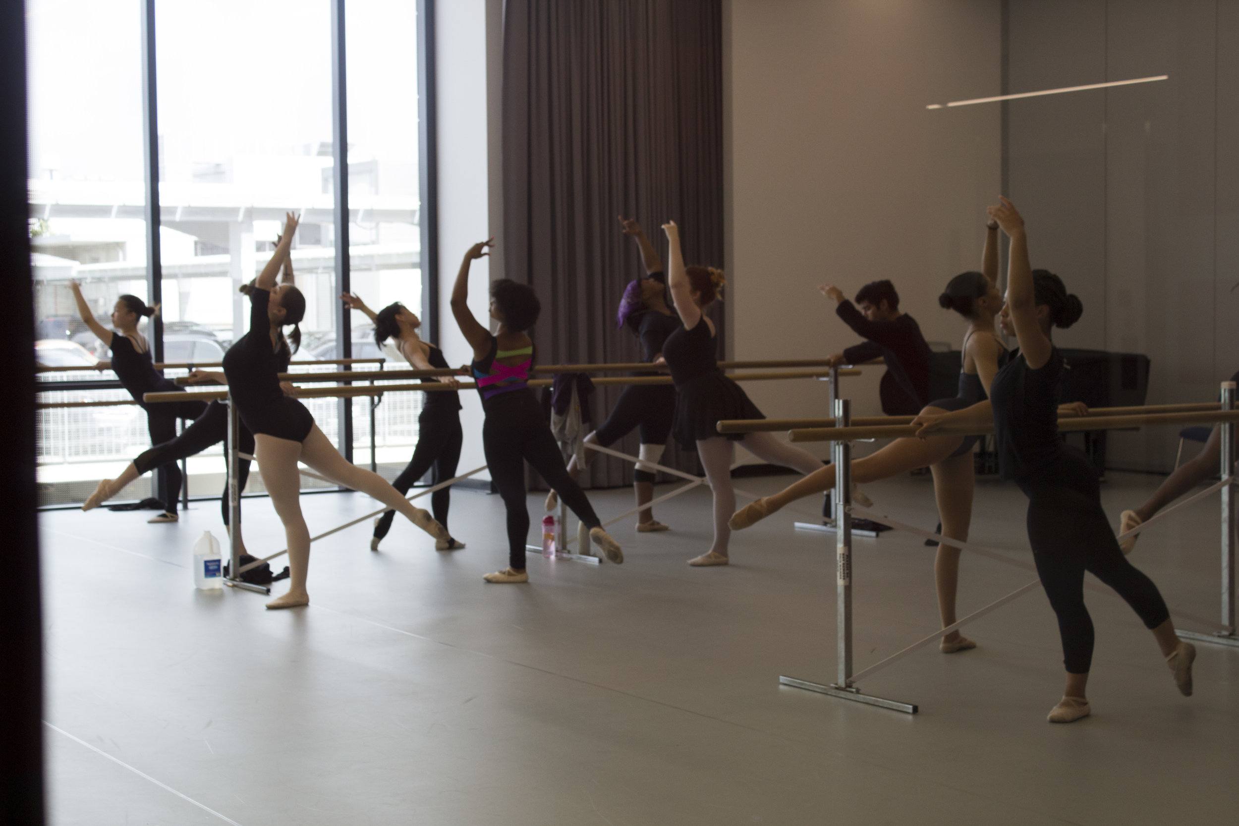Dance class on the 3rd floor of the all new Core Performance Center building. At Santa Monica College, Calif. Photo taken on April 3, 2017. Emeline Moquillon, staff photographer