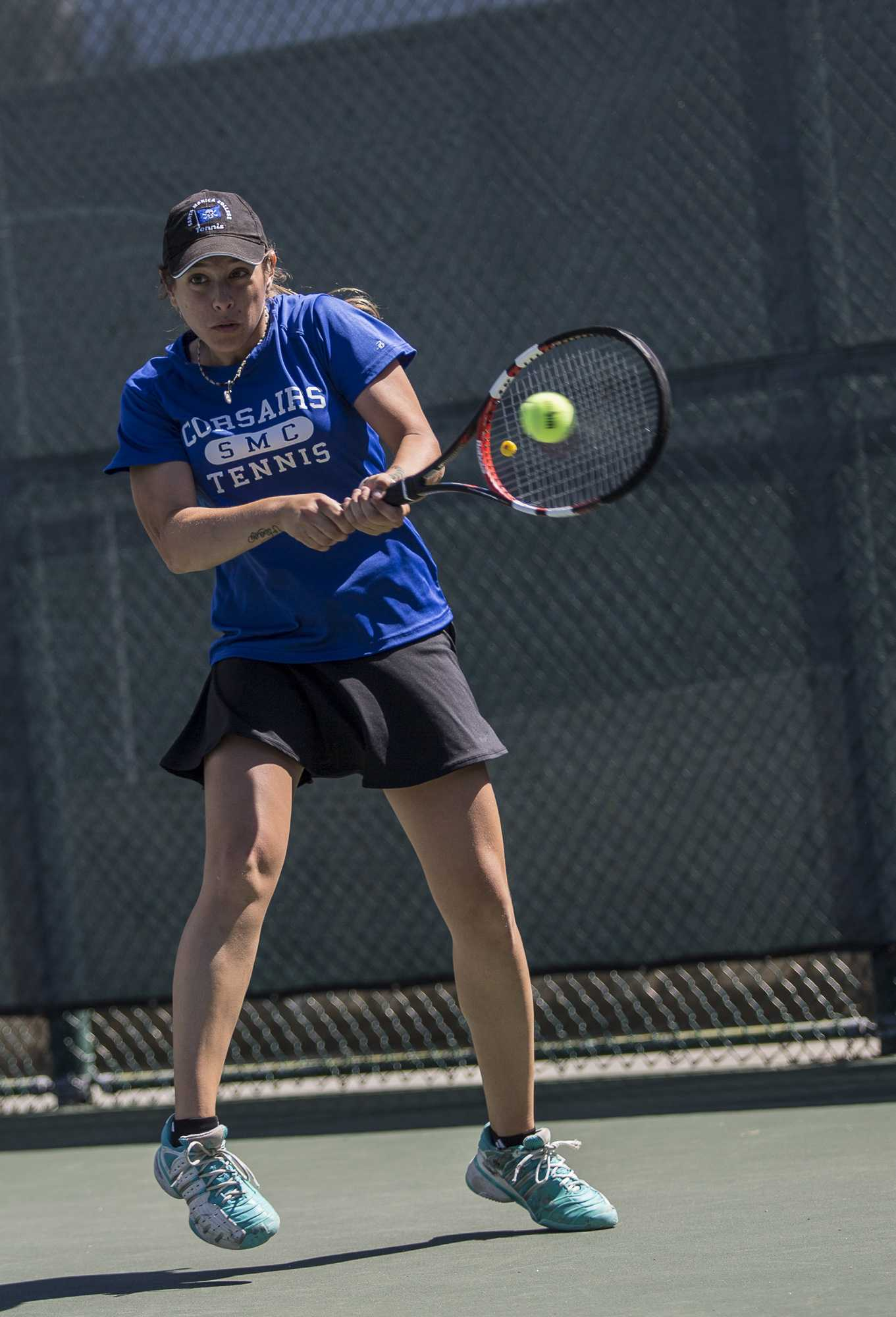 Santa Monica College Corsair sophomore Mayra Jovic (#1, singles) nails a backhand stroke at her Ventura College Pirate opponent during her 2 – 0 (6-0, 6-0) set victory which was part of the Corsairs 7 – 1 blowout victory over the Ventura College Pirates at the Ocean View Park Tennis Courts in Santa Monica Calif., on Thursday, March 23 2017. (Corsair Photo: Matthew Martin)