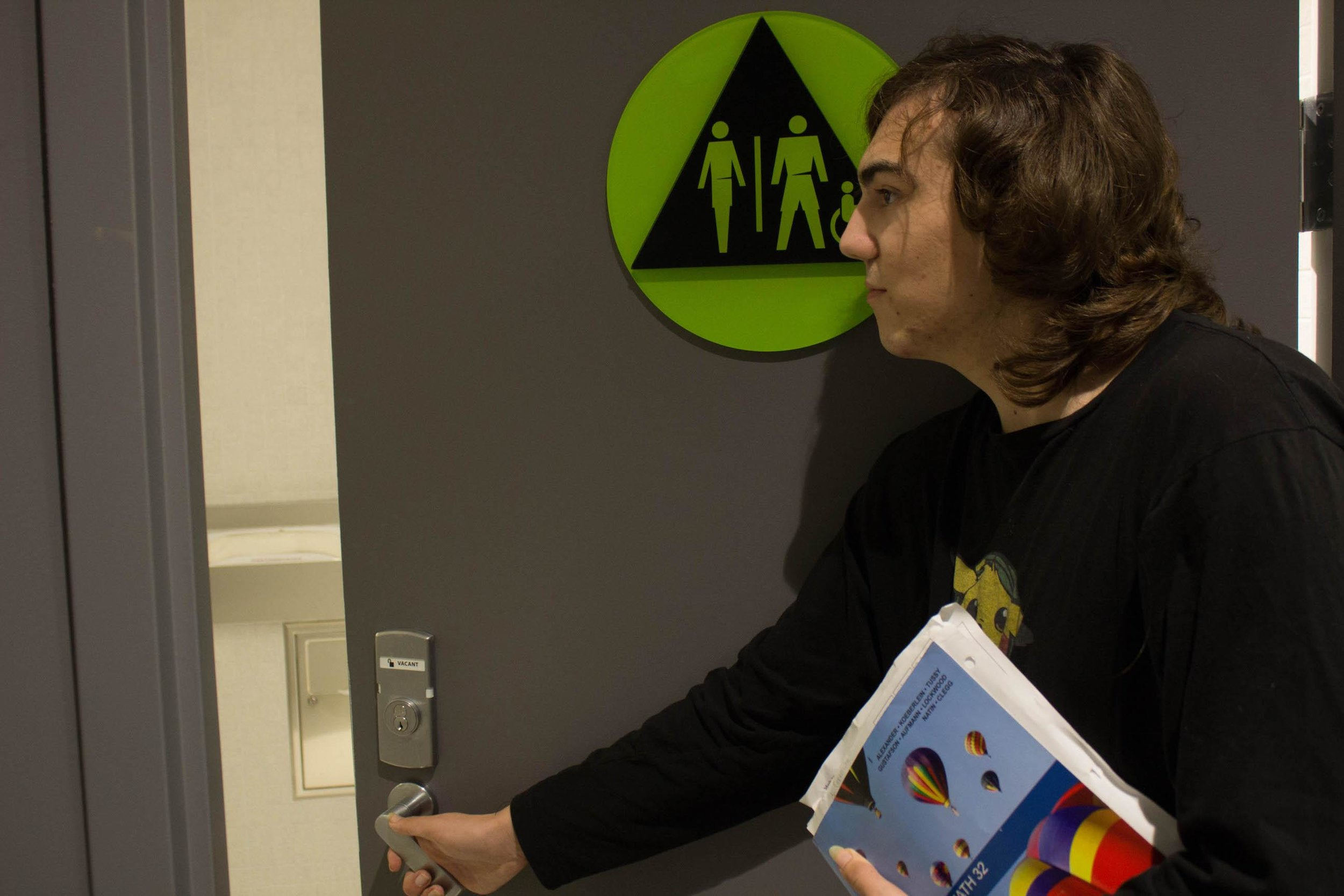 Santa Monica College Computer Science major, Sylvia Manson, 19, shown at the Gender Neutral restroom in the Core Performance Center, on the SMC Main Campus in Santa Monica, Calif. , Monday March 20, 2017. Manson is a transgender woman and GSA member (The Gender Sexuality Alliance Club) who isn't comfortable using the none gender neutral restrooms. Photo by Emeline Moquillon.