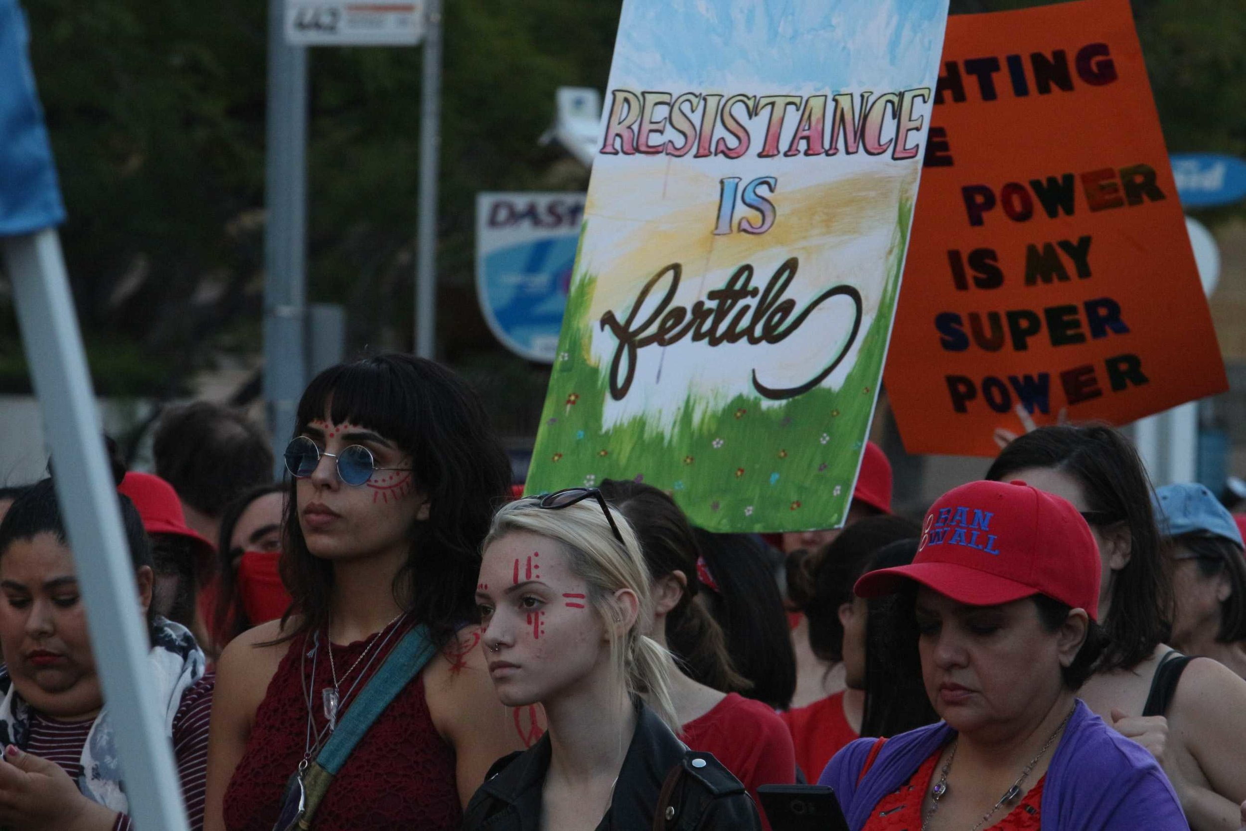 Women on strike on March 8th in Downtown Los Angeles, California on Internation Women's Day (photo by José Aguila)