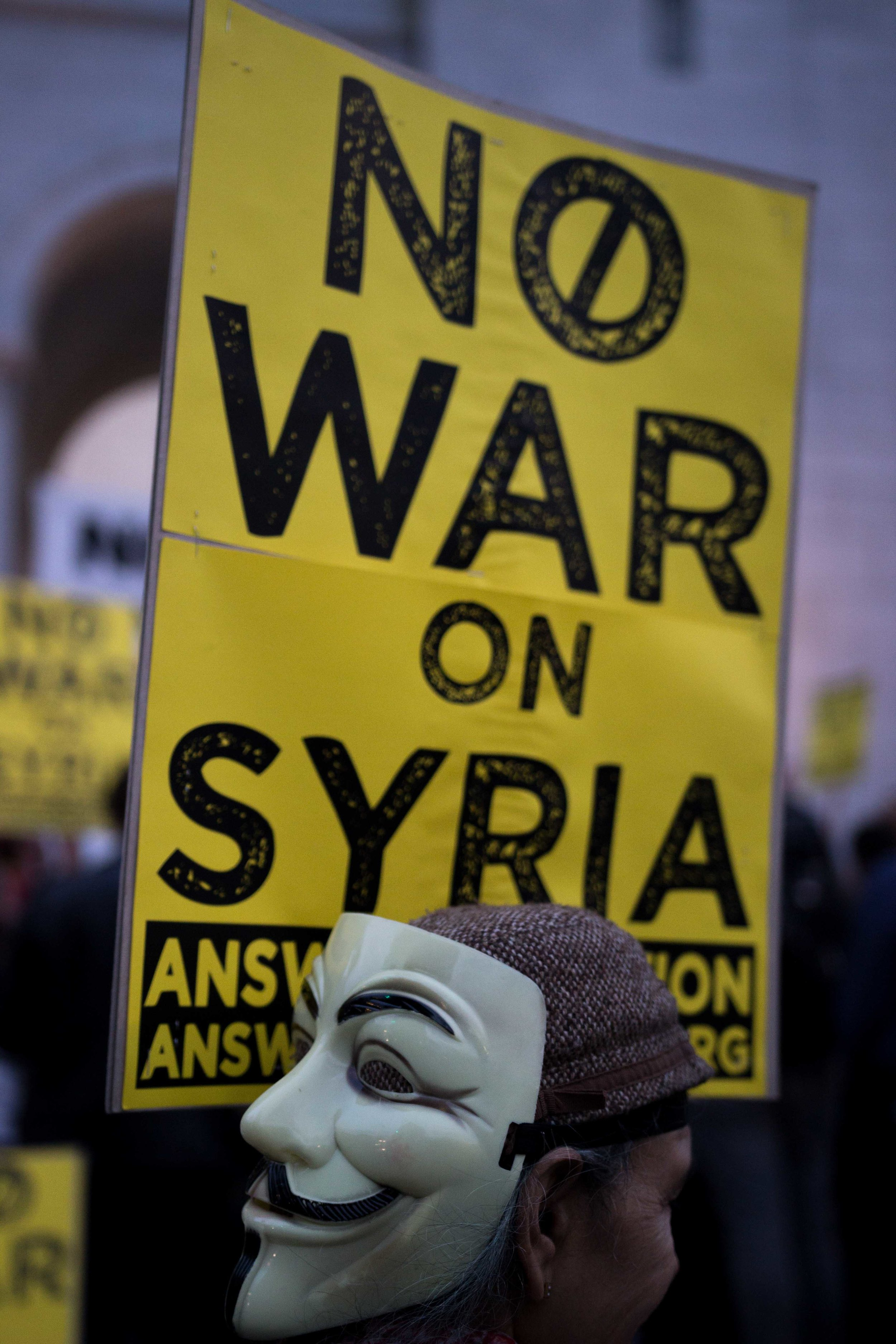 Protestor Bella De Soto shows her support for the people of Syria after the United States missile strike at Los Angeles City Hall in Downtown Los Angeles on April 7, 2017 (Photo By: Zane Meyer-Thornton)