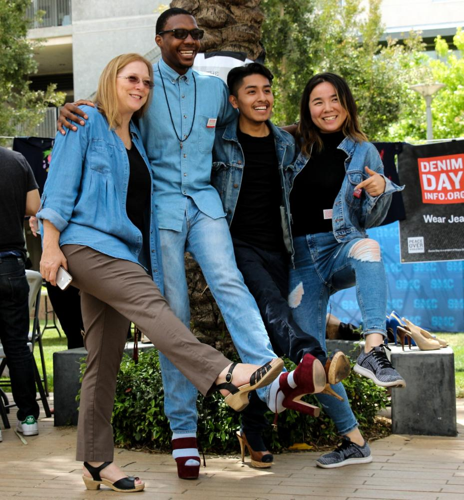 (From left to right) Dr. Green, President Terrence Wares Jr. , Juan Carlos Durango, and Dan Micca Cao posing in their Denim and heels for Denim Day during Consent week at Santa Monica College on April 26th, 2017. Jose Aguila.