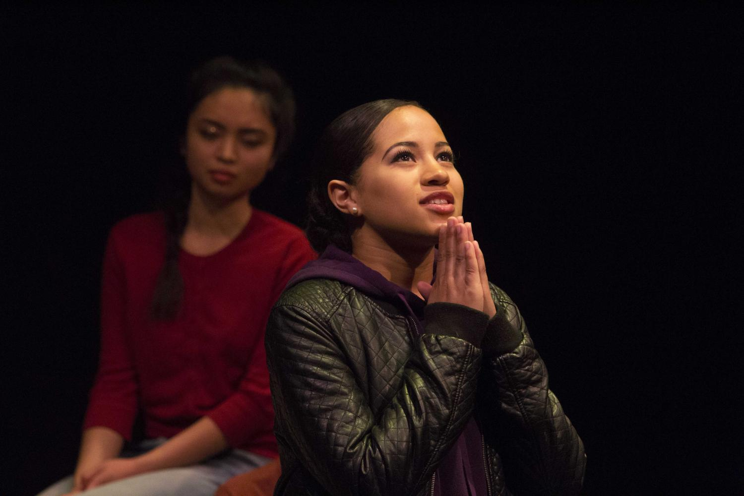 Ashlyn Smith, Voice #8, breaking the silence about an abusive brother in law. Voices of Hope, play by Pamela Lassiter Cathey about sexual assault and its consequences for the victims. On Studio Stage Productions/Performances at Santa Monica College, Calif. On Friday April 28, 2017. (Emeline Moquillon)