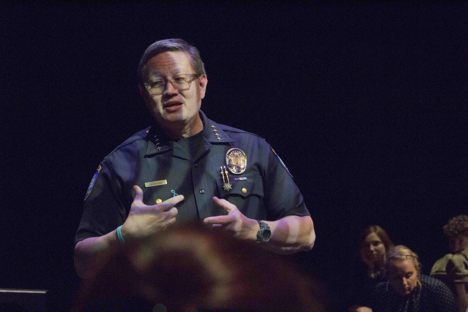 Chief Johnnie Adams from the Santa Monica Police, at the Q&A panel talk after the performance. Present to talk about Title IX and sexual assaults. Voices of Hope, play by Pamela Lassiter Cathey about sexual assault and its consequences for the victims. On Studio Stage Productions/Performances at Santa Monica College, Calif. On Friday April 28, 2017. Photo by Emeline Moquillon On Friday April 28, 2017. (Emeline Moquillon)