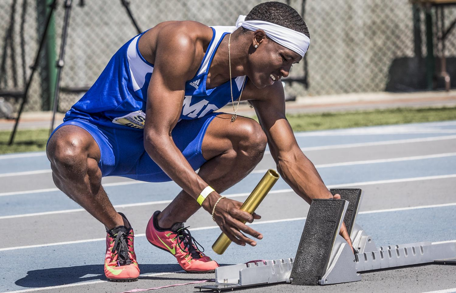 Santa Monica College Corsair sophomore athlete Devyn Deckard checks his mark before the Men's 4 x 400m Relay during the So Cal track and field finals in the Cerritos College field in Norwalk, Calif., on Saturday, May 13, 2017. Deckard would go on to start the relay for the Corsairs Men's 400m Relay team which would end up coming in 4th place during Saturdays So Cal Track and Field championship with a time of 3:17.91. (Matthew Martin)