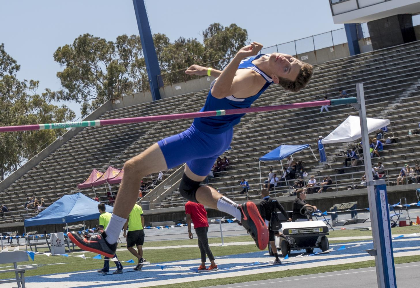 Santa Monica College sophomore Sitrling McCulloch leaps over the bar as he competes in the high jump competition at the CCCAA (California Community College Athletics Association) Southern California Regional Prelims and Championship on May 13, 2017 at Cerritos College in Cerritos. (Zane Meyer-Thornton)